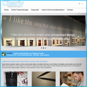 Screen shot van de homepage van Clearly Communications 2014